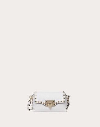 Valentino Mini Rockstud Grainy Leather Crossbody Bag Women White OneSize