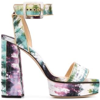 Jimmy Choo Jax/PF 125mm tie-dye sandals