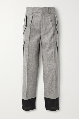 J.W.Anderson Melange Merino Wool And Cotton-twill Straight-leg Pants - Gray
