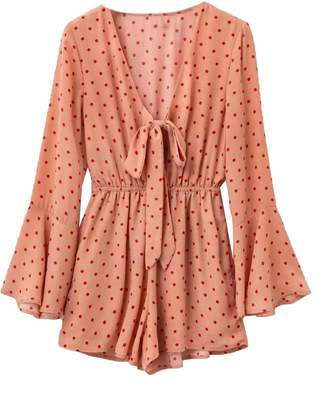 Goodnight Macaroon 'Jemima' Polka Dot Tied Front Romper (2 Colors)