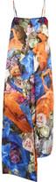 Christopher Kane Draped Floral-print Wool-satin Dress - Blue