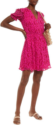 BA&SH Gathered Floral-print Crepon Mini Dress
