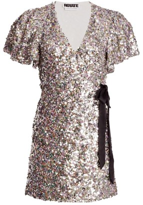 Rotate by Birger Christensen Frida Sequin Wrap Dress
