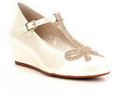 GB Girls Dearest-Girl Pearlized Patent Gold Glitter Bow Embellished T-Strap Wedge