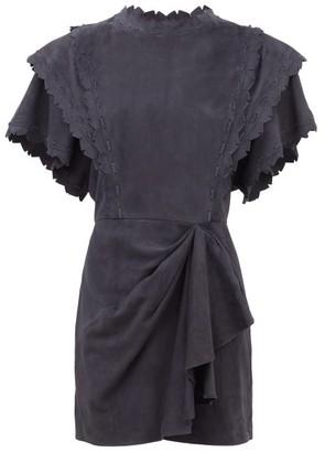 Isabel Marant Aleati Layered Suede Mini Dress - Womens - Navy