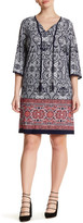 Sandra Darren Printed 3/4 Length Sleeve Dress (Plus Size)