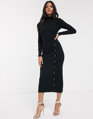 Fashion Union high neck knitted dress with button detail-Black