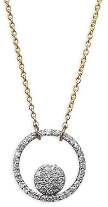 Phillips House 14K Two Tone Diamond Ring Pendant Necklace