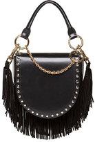 Sacai Leather Coin Bag w/Fringe Chain Strap, Black