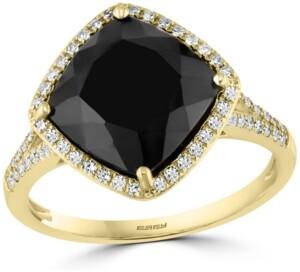 Effy Diamond (1/5 ct. t.w.) & Onyx (10mm) Statement Ring In 14k Gold