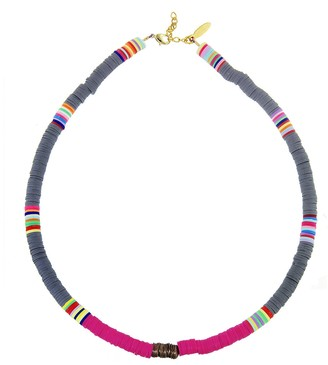 Gray, Hot Pink and Copper Heishi Bead Necklace - Yellow Gold