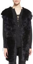 IRO Manami Reversible Shearling Vest, Black/Blue