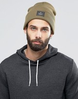 Asos Patch Beanie In Olive