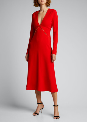 Victoria Beckham V-Neck Long-Sleeve Midi Dress with Chain