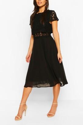 boohoo Lace Top Chiffon Skater Dress