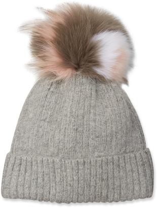 Yves Salomon Knit Beanie Hat w/ Fox Fur Pompom