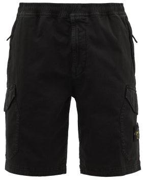 Stone Island Logo-patch Stretch-cotton Twill Cargo Shorts - Mens - Black