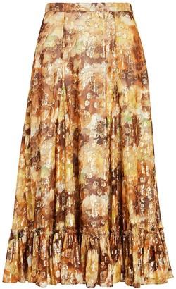 LoveShackFancy Lil Floral Lurex Midi Skirt