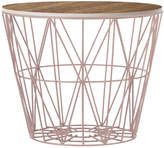ferm LIVING Medium Wire Basket - Rose with Smoked Oak Lid