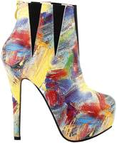 Show Story Modern-looking Colorful Abstract Painting Platform Stiletto Ankle Bootie Boots,LF80854WI40,9US