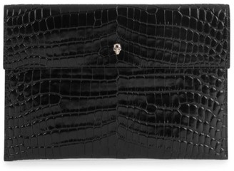 Alexander McQueen Skull Croc-Embossed Leather Pouch