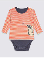 Marks and Spencer Striped Badger Print Pure Cotton Bodysuit