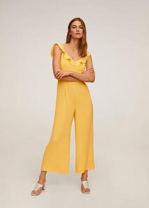 MANGO Frilled long jumpsuit yellow - XS - Women