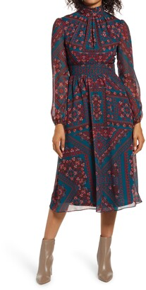 Julia Jordan Tile Print Mock Neck Long Sleeve Midi Dress