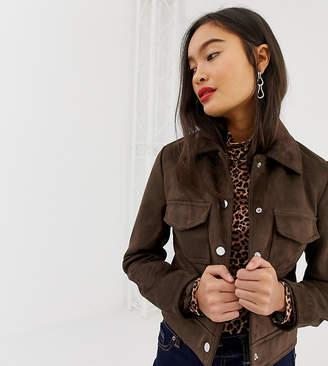 New Look suedette utility trucker jacket in brown