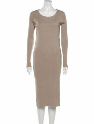 Brunello Cucinelli Scoop Neck Midi Length Dress Metallic