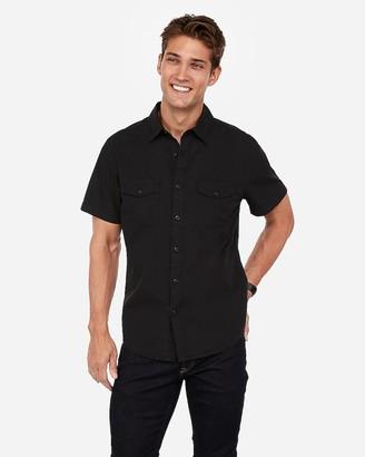 Express Slim Military Pocket Short Sleeve Shirt