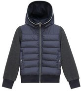 Moncler Hooded Fleece Zip-Front Jacket, Light Gray, Size 4-6