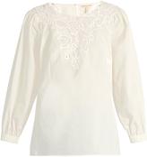 Rebecca Taylor Macramé-lace panelled cotton top