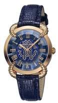 Roberto Cavalli Women's Rc-37 Swiss Quartz Blue Leather Strap Watch.