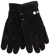 John Lewis Adjustable Strap Suede Gloves, Black