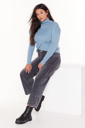 Nasty Gal Womens Rubbing Shoulders Plus Turtleneck Sweater - Denim-Blue