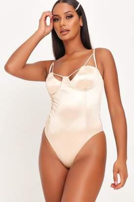 I SAW IT FIRST Nude Satin Underwire Bodysuit