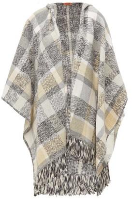 Missoni Checked Wool-blend Poncho - Womens - Grey Multi