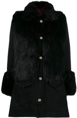 Pinko faux fur trim coat