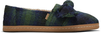 Toms Green Plaid Leather Wrap Alpargata