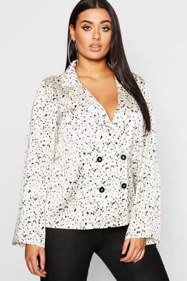 boohoo Plus Smudge Spot Revere Collar Satin Shirt