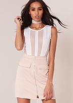 Missy Empire Megan Nude Pocket Detail Zip Up Mini Skirt