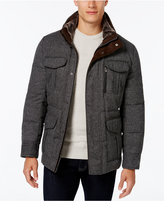 MICHAEL Michael Kors Men's Tweed Stand Collar Coat with Faux Fur Trim