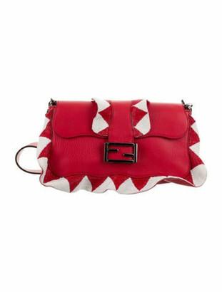 Fendi Beaded Ruffle Baguette Bag red
