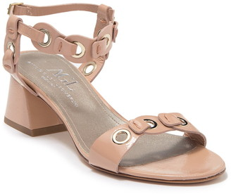 AGL Patent Leather Grommet Block Heel Sandal