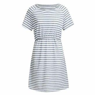 So Buts Maternity Dress SO-buts Women's Summer Pregnant Maternity Short Sleeve Striped Nursing Breastfeeding Pajamas Loose Sleepwear Dress (Gray L)