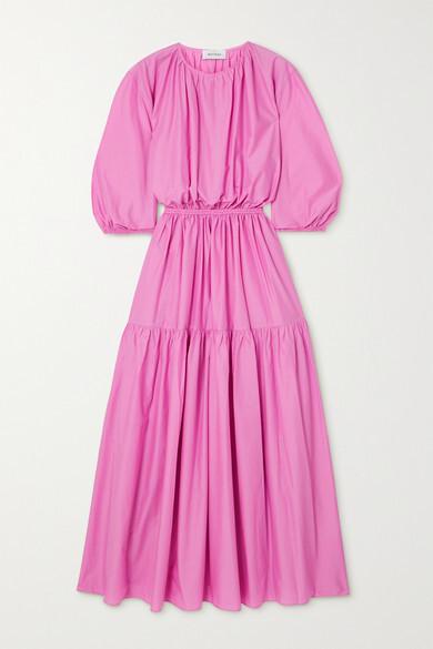 Matteau + Net Sustain Tiered Organic Cotton-poplin Maxi Dress - Pink