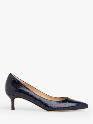 LK Bennett Audrey Leather Croc-Effect Kitten Heel Court Shoes, Blue/Navy