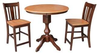 Canora Grey Reichel Round Top Counter Height 3 Piece Pub Table Set Canora Grey Color: Cinnamon / Espresso