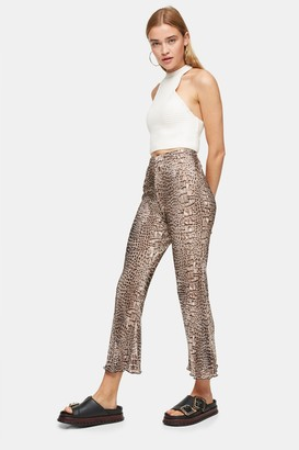 Topshop Womens Tall Crocodile Print Plisse Flare Trousers - Multi